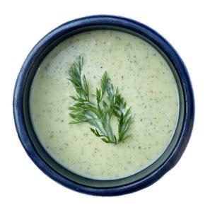 Soep 'crème van courgette' met croutons